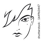 stylized female face | Shutterstock .eps vector #164963447