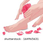 Female Feet And Hands With Pin...