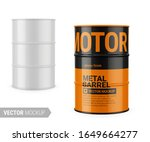 white glossy 200 l metal barrel.... | Shutterstock .eps vector #1649664277