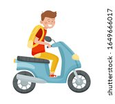 young man with backpack riding... | Shutterstock .eps vector #1649666017