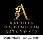 golden floral alphabet font... | Shutterstock .eps vector #1649671084