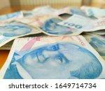 turkish liras. 100 tl turkish... | Shutterstock . vector #1649714734