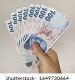turkish liras. 100 tl turkish... | Shutterstock . vector #1649730664