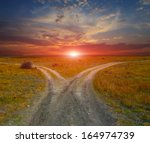 countryside roads on sunset... | Shutterstock . vector #164974739