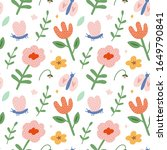 spring pattern with flowers ...   Shutterstock .eps vector #1649790841