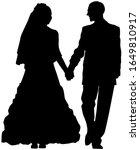 vector silhouette of a bride... | Shutterstock .eps vector #1649810917