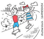 happy guy and girl... | Shutterstock . vector #1649850454
