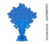Blue Vintage Vase With Blue...