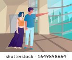happy couple holding hands.... | Shutterstock .eps vector #1649898664
