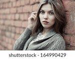portrait of a beautiful female... | Shutterstock . vector #164990429