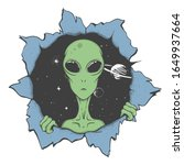 alien looking to us from the...   Shutterstock .eps vector #1649937664