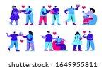 set of men and women opening... | Shutterstock .eps vector #1649955811