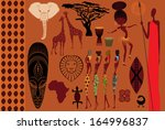 africa  icons  symbols and... | Shutterstock .eps vector #164996837