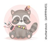 tribal raccoon illustration.... | Shutterstock .eps vector #1649994451