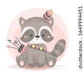 tribal raccoon illustration.... | Shutterstock .eps vector #1649994451