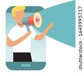 man from smartphone shouting... | Shutterstock .eps vector #1649995717