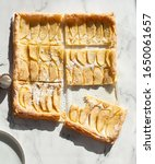 apple pastry top view on white. | Shutterstock . vector #1650061657