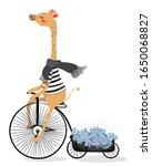 Cute Giraffe With Bicycle....