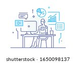 robot at workplace interface of ... | Shutterstock .eps vector #1650098137