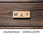 May Word Written On Wood Block. ...