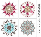 set of four vector floral round ... | Shutterstock .eps vector #165016904