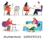 people eat food like pizza and... | Shutterstock .eps vector #1650192121
