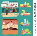 two couples stand by tables in... | Shutterstock .eps vector #1650193984