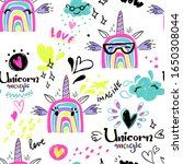funny unicorn seamless pattern. ... | Shutterstock .eps vector #1650308044