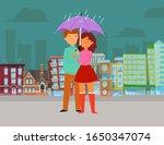 love in rain valentines day... | Shutterstock .eps vector #1650347074