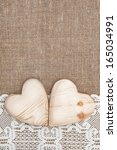 Burlap Background With Lacy...