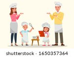 happy family cooking together... | Shutterstock .eps vector #1650357364