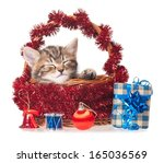 cute kitten with new year gifts ... | Shutterstock . vector #165036569