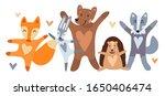 vector set of cute animals  fox ... | Shutterstock .eps vector #1650406474