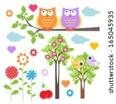 floral elements with cute owls | Shutterstock .eps vector #165045935