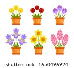 set of spring cute flowers in... | Shutterstock .eps vector #1650496924