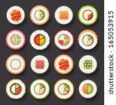 sushi icon set | Shutterstock .eps vector #165053915