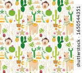 alpacas and cacti. collection... | Shutterstock .eps vector #1650544351
