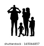 black silhouettes of young big... | Shutterstock . vector #165066857
