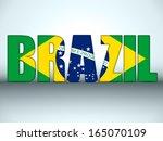Vector - cartas de Brasil con la bandera brasileña.