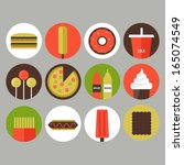 junk food and fast food icons | Shutterstock .eps vector #165074549