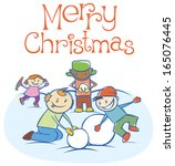 three little boys and girl are... | Shutterstock . vector #165076445