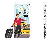 taxi service cartoon smartphone ...