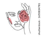 one line art woman  girl.... | Shutterstock .eps vector #1650834781