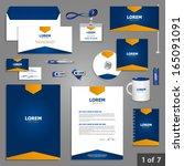 blue stationery template design ... | Shutterstock .eps vector #165091091
