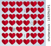 find love  42 paper hearts. the ... | Shutterstock . vector #165096191