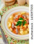 Small photo of Russian Sauerkraut Soup, Shchi (Stchi) with Turkey, close up