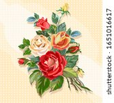 bright card with roses made in... | Shutterstock .eps vector #1651016617