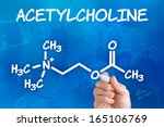 Small photo of Hand with pen drawing the chemical formula of acetylcholine