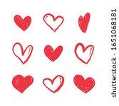 hand drawn hearts. love heart... | Shutterstock .eps vector #1651068181