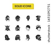 facial icons set with judge ...